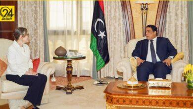 المنفي يستقبل رئيسة الوزراء التونسية في مقر إقامته بالرياض